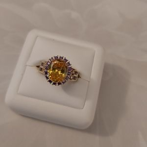 Natural Oval Citrine Gemstone Ring